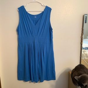 Lands' End Pleated Sleeveless Dress Classic Blue